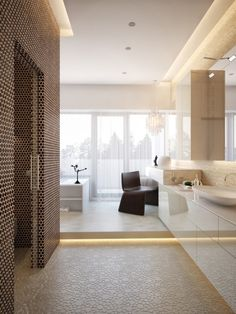 Wonderful Contemporary House Interior Looks Bright with Glass Wall : Sleek Modern House Interiors Bathroom Floating Vanity Sink