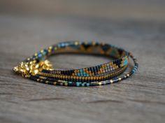 Ensemble de 4 bracelets faits à la main avec fermoir plaqué de Miyuki perles-or