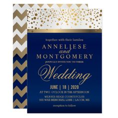 White and Navy Blue with Gold Dots - Invitation - wedding invitations diy cyo special idea personalize card