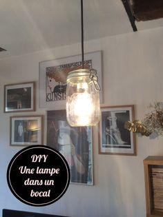 DIY_lampe_bocal le parfait_allumée_ampoule_suspension plafond