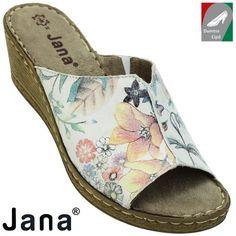 Jana női bőr papucs 8-27210-20 149 fehér/virágmintás