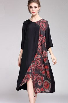 Red And Green Print Loose Dresses Women Casual Clothes Cocktail Bridesmaid Dresses, Long Cocktail Dress, Pakistani Dresses Casual, Casual Dresses For Women, Casual Clothes, Casual Outfits, Long Formal Gowns, Loose Dresses, Different Dresses