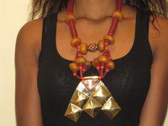 Collier africain, Collier porte bonheur,Copal, Koffi, et Bronze