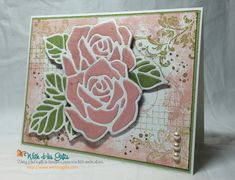 Timeless Textures Stamp Set, Rose Garden Thinlits Dies | video tutorial https://youtu.be/6JsASIV8q9Y | Whisper White, Pear Pizzazz, Blushing Bride cardstock and ink; Soft Suede ink, Clear Wink Of Stella Glitter Brush