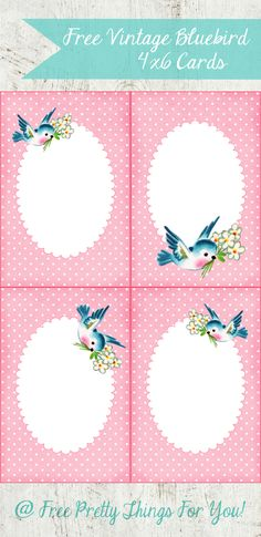Free 4×6 Vintage Bluebird Cards! @Penny Douglas Pretty Things For You