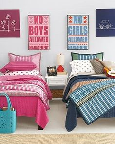 Great ideas for kids sharing a room.