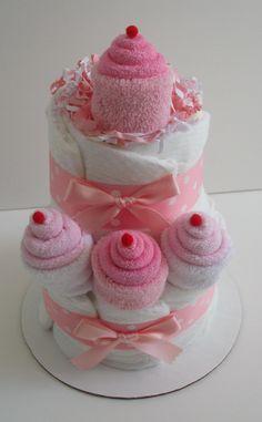 Mini 2 Tier Pink Cupcake Diaper Cake. $25.00, via Etsy.