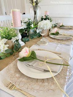 Pillar Candle Holders, Pillar Candles, Large Glass Vase, Long Stem Flowers, Gold Cutlery, Stock Flower, Burlap Runners, Floral Garland