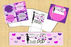 She's ready to pop baby shower set Instant by TwistTieLove on Etsy, $15.00 Includes bottle label covers, favor tags , cupcake flags, AND DIY popcorn box!!
