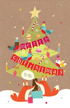 Martina Hogan - cute foxes and christmas tree.jpg