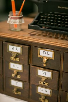 vintage library catalog used for escort cards // photo by Sandy Tam // http://ruffledblog.com/ontario-vintage-handmade-wedding