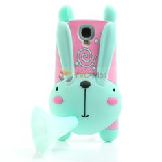 3D Lovely Rabbit with Morning Glory Horn Style Silicone Cover Case for Samsung #GalaxyS4 I9500 I9502 - Cyan