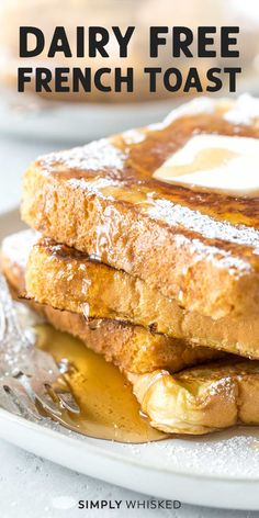 Dairy Free French Toast, French Bread French Toast, Free In French, French Toast Bake, French Toast Recipe With No Milk, Almond Milk French Toast, French Toast Without Milk, French Meal, Vegan French Toast