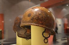 Late Republican Roman (Caesarian) bronze helmet of Coolus-Mannheim type. In a museum in Toulouse, France.