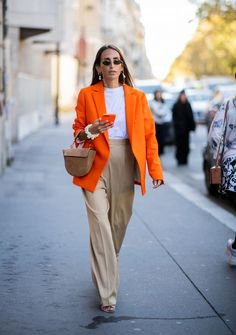 Orange Outfits, Colourful Outfits, Cool Girl Outfits, Casual Outfits, Fashion Outfits, Work Outfits, Monochrome Outfit, Monochrome Color, New York Fashion