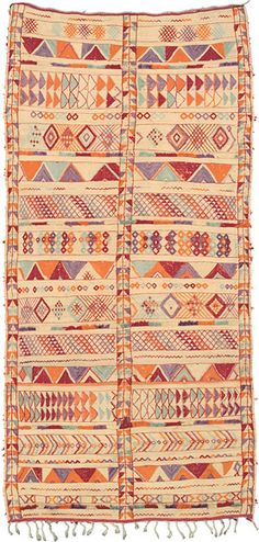 F.J.HAKIMIAN - Moroccan Tribal Weavings - Zemour Mat [#15452] I bought a large rug like this when I was in Morocco. It's on my wall in our bedroom. :) mine is more turquoise and red than this one.