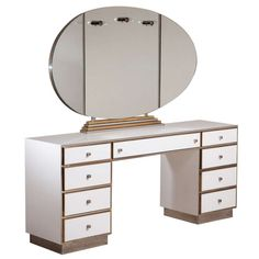 A Large Dressing Table with Illuminated Vanity Mirror 1970s