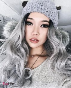 Grey skies calls for grey hair Omg - you look incredible! This Grey/Silver Ombre Wavy Long wig is flawless!!!! @estherryi. You totally rock it well. i'm obsessed with you! Wig SKU: SH001 #wvayhair #silver #greyhair #syntheticwig #ombrewavyhair #fashion #blonde #grayish #purple #evahair #evahairofficial#wvayhair