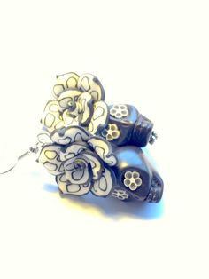 Polkadot White and Black Day of the Dead Roses and Sugar Skull Earrings by PennysLane on Etsy