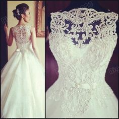 Wonderful details on this wedding dress and only around $300 at https://www.etsy.com/listing/194193224/beading-wedding-dresses-2014-wedding