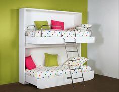 Lits escamotables Double Beds, Bunk Beds, Kids Bedroom, Loft, Design, Furniture, Bunkhouse, Kid Rooms, Home Decor