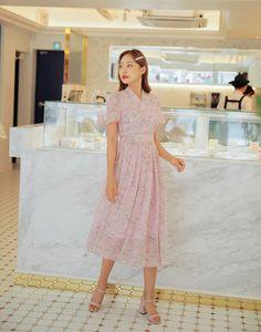 Korean Fashion Dress, Korean Dress, Skirt Fashion, Women's Fashion, Pink Chiffon Dress, Wrap Dress Floral, Pink Dress, Modern Hanbok, Vintage Party Dresses