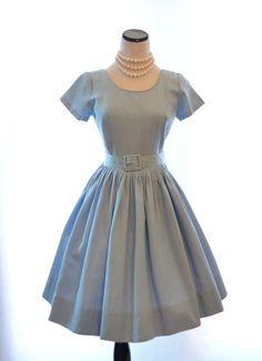 "Rockabilly Blue Vintage Dress // 50s Vintage Dress // Size 0 - 2 Dress // Belted Dress // Full Skirt Dress // Powder Blue Dress // 25"" Waist"