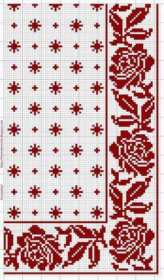 Crochet Patterns: January 2020 Cross Stitch Rose, Cross Stitch Borders, Cross Stitch Flowers, Cross Stitch Designs, Cross Stitching, Cross Stitch Patterns, Loom Patterns, Embroidery Patterns, Crochet Patterns