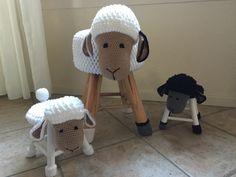 Mama schaap met 2 lammetjes. #krukjes #Haken #sheep