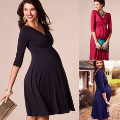 Cheap Dresses, Buy Directly from China Suppliers:Maternity Clothes 2019 Spring Summer Pregnant Women Dress Casual Sexy V Neck Sleeve Solid A-line Dresses Vestidos Plus Size Dresses For Pregnant Women, Casual Dresses For Women, Clothes For Women, Dress Casual, Maternity Gown Photography, Maternity Dress Outfits, Clothes 2019, Evening Party Gowns, Cheap Dresses