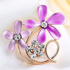 Brooches & Pins - vintage pink enamel floral flower brooch clear rhinestone crystal brooches Image. Crystal Brooch, Crystal Rhinestone, Flower Brooch, Brooch Pin, Floral Flowers, Vintage Pink, Purple, Blue, Brooches