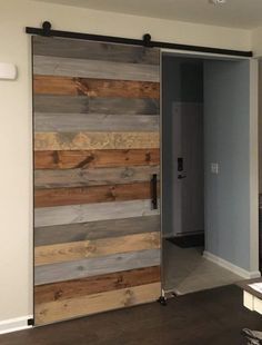 This Custom Rustic Barn Door Multi-Stain Made to Order is just one of the custom, handmade pieces you'll find in our doors shops. Knotty Pine Doors, Barn Door Designs, The Doors, Entry Doors, Panel Doors, Front Doors, Front Entry, Sliding Barn Door Hardware, Sliding Doors