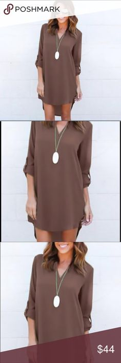Chiffon tunic dress in mocha Light weight, comfortable and so perfect for summer this Tunic dress is a staple in your summer wardrobe. You can wear it as a tunic with denim , leggings or a long skirt. Pair it with flats for everyday wear. Add a long chick necklace and heels and you can take it out for dinner. It's versatile and goes from casual to dressy depending on what you match it with. This listing is for the Mocha one and I have it in Olive and navy or gray as well. Dresses Mini