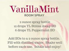 Vanilla Mint Room Spray with Stress Away and Peppermint Essential Oils