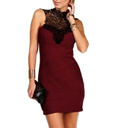 Burgundy/Black Mock Neck Lace Dress