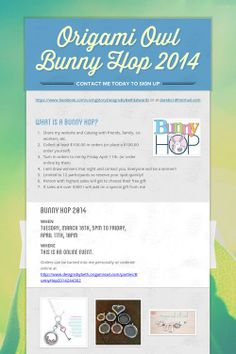 Origami Owl Bunny Hop 2014.  I need 12 participants to earn Free Jewelry!!!