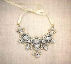 nice Scarlett - Bold crystal necklace, wedding jewelry , bridal necklace, statement n...