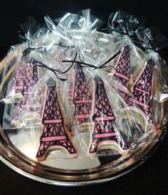 Eiffel Tower cookies for a Paris themed bridal shower  www.cakeaters.com