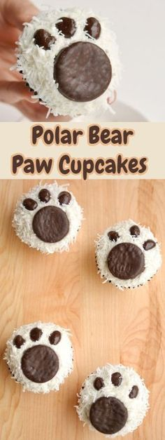 These polar bear paw cupcakes are so easy to make and they look ADORABLE! They'd be great for a Christmas party, teddy bear picnic, or just as a fun winter treat. And the coconut and chocolate combination is delicious! Teddy Bear Cupcakes, Bear Cookies, Ballerina Cupcakes, Teddy Bears Picnic Food, Polar Bear Paw, Polar Bear Food, Cake Pops, Teddy Bear Birthday, 2nd Birthday
