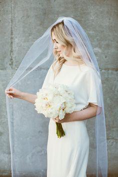 Veil. Vintage Curls. Waves. Blonde. Modern Wedding. White Wedding. Cathedral Veil. Seattle Wedding. Bridal Hair. Wedding. Bride. Urbanista Weddings.