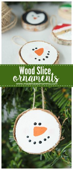 Wood Slice Ornaments: the perfect 30 minutes gift idea that your loved ones will enjoy year after year. (Diy Ornaments Wood) Wood Slice Ornaments: the perfect 30 minutes gift idea that your loved ones will enjoy year after year. Christmas Ornament Crafts, Wood Ornaments, Noel Christmas, Christmas Crafts For Kids, Diy Christmas Gifts, Christmas Projects, Holiday Crafts, Christmas Decorations, Rustic Homemade Christmas Ornaments