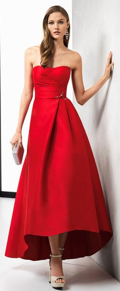 Hot Sale Satin Strapless Neckline Hi-lo A-line Prom Dress With Beadings