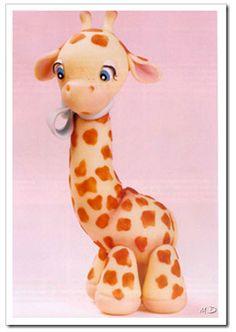 Souvenirs jirafa de porcelana fría.