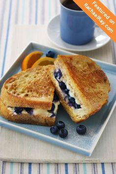 "Blueberry French Toast Sandwich - instead of premade French Toast, make Stuffed French Toast using 1 1/4"" thick slices of French bread then cut a 1 1/2"" wide pocket in the side of each bread slice to stuff the filling in. Dip in egg and milk mixture and cook on a griddle until outside is golden."