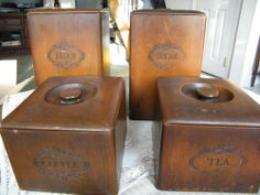 My Grandmother had these... Vintage Wooden Kitchen Canister Flour Sugar Coffee and Tea