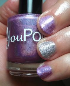 Base: You Polish - Radiant Orchid Accent: OPI - It's Frosty Outside