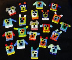 dogs #Fused_Glass magnets or pins