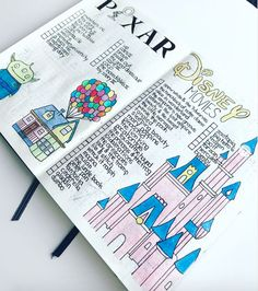 37 Imagination Inspiring Disney Bullet Journal Spreads 37 amazing disney inspired bullet journal spreads that will inspire your inner creative and inner child. Get disney inspired and creative with these spreads Bullet Journal School, Bullet Journal Disney, Bullet Journal Notebook, Bullet Journal Inspo, Bullet Journal Ideas Pages, Book Journal, Journals, Bullet Journal Book List, Bullet Journal Savings