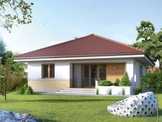 Two bedroom house plans - Houz Buzz Roof Styles, House Styles, Two Bedroom House, Modern Bungalow House, Village House Design, Spanish House, Craftsman House Plans, Cottage Design, House Roof