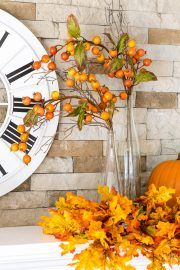 Fall mantel decorating idea using what you already own